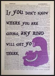 Cheshire Cat Quote Vintage Dictionary Page Print Picture Alice In Wonderland Art