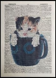 Kitten Print Vintage Dictionary Page Wall Art Picture Cup Mug Tea Coffee Cat