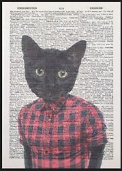 Black Cat Print Vintage Dictionary Page Wall Art Kitten Human Animal In Clothes
