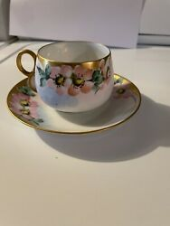 Vintage Japan Hand Painted pink with flowers Tea Cup and Saucer Set. Iridescent