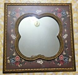 """Vintage square old fashion floral wall hanging decorative mirror gold Brown 20"""""""