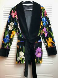 Dolce And Gabbana Iris-print Cotton-blend Robe Jacket Floral Nwt Size 42 It/ 8 Us