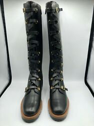 Christian Dior Wildior Leather Knee Boots Combat Style Size 41 Eu