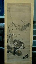 Antique 18c Japanese Watercolor /ink 3 Ducks Scroll On Silk Painting ,signed