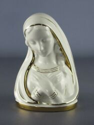 Vintage Statue Figure Madonna Ceramics White Painted With Gold Xx Century