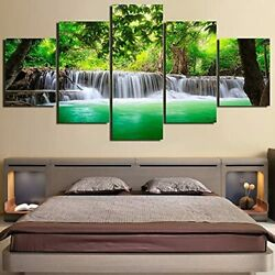 Waterfalls Natural Green Landscape Painting Wall Art Home Decoration Canvas