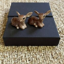 Collectable Small Figurines Set Of 2 Deer Fawns Vintage Miniature Animal