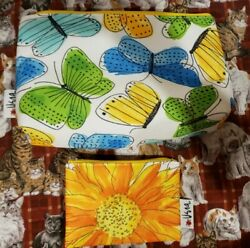 New VERA Neumann CLINIQUE 2 Butterflies amp; Sunflower Cosmetic Cases FREE SHIPPING $14.95
