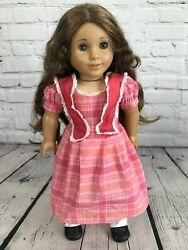 2011 American Girl Marie Grace Doll With Pink Plaid Dress Outfit And Boots