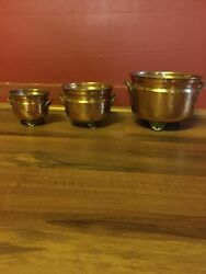 Vintage Hammered Copper Footed Pots/planters From India Lot Of 3