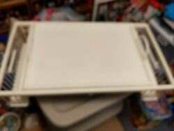 Vintage White Wicker Adjustable Lap Table Bed Serving Tray 30 X 17 - Lb