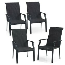 Set Of 4 Handmade Rattan Patio Chairs Outdoor Wicker Dining Chair W/ Steel Frame