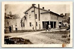 Colon Mithis Is The Firetownsfolk Fighting The Flames On Two Bldgs 1912 Rppc