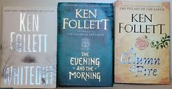 Lot of 3 Ken Follett: Column of Fire*The Evening and the Morning Whiteout $24.99