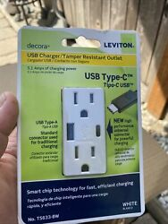 Leviton Decora T5633-bw 15 Amp Type A And C Usb Charger Tamper-resistant Outlet