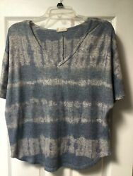 Anthropologie Ember Small Women's Short Sleeve Soft Knit Top Blue and Gray $6.00