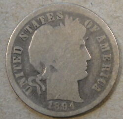 1894-o Barber Dime 10c As Pictured