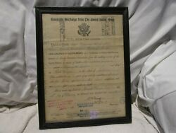 Vintage Ww1 Us Army Honorable Discharge Paper