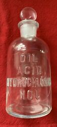 Vintage 1915 Dil Acid Hydrochloric Hcl Embossed T.c.w. Co. Bottle With Stopper