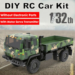 1/32 4wd Diy Unpainted Grey Tractor Kit Rc Car Military Truck Vehicles Model