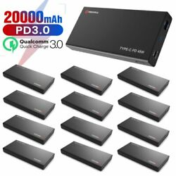 20000mah Pd Portable 45w Charger Qc 3.0 Power Bank Usb-c Battery Pack Lot Pack