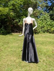 Glamour 1930andrsquos Black And White Shining Satin Dress W Braided Shoulder Straps