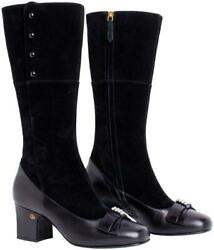 Black 637151 Crystal Bow Mid Heel Leather Womens Boots/booties Size Us 8