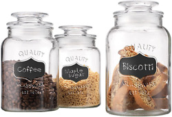 Glass Canister Set For Kitchen Or Bathroom Apothecary Glass Food Storage Jars W