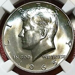 Electric Blue Crescent Rainbow Toned 1965 Kennedy Half Dollar Ngc Ms-67