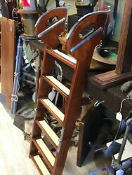 Wood And Brass Boat Ladder 6 Steps 52andrdquo Long Open 30andrdquo Folded Beautiful Hardware