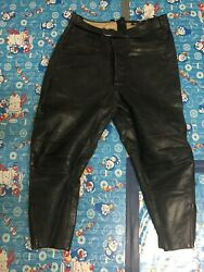 Wwii German Luftwaffe/police Black Leather Breeches Trousers Good Condition