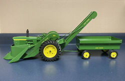 Vintage 1960andrsquos Ertl John Deere 3010 W/ Picker And Wagon Toy 1/16th - Restored
