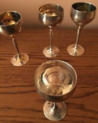 New Old Stock Vintage Leonard Epns Cordial Silver Plated Cordial Glasses Set 8