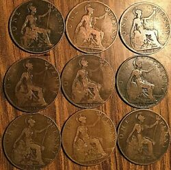 1902 To 1910 Complete Set Of Edward Vii United Kingdom Great Britain One Penny