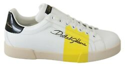 Dolce And Gabbana Shoes Sneakers White Leather Yellow Logo Mens S. Eu44 / Us11