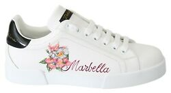 Dolce And Gabbana Shoes Sneakers White Leather Marbella Print Mens S. Eu40 / Us7