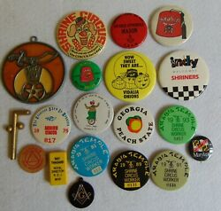 Masonic Collection Of Vintage Shrine Button Badges And Misc. Items, 20 Pieces.