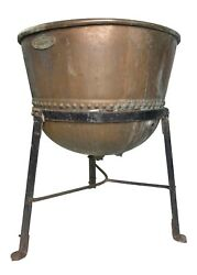 Rare Large Antique Hamilton Copper Candy Kettle Couldran With Stand