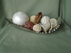 Contemporary Modern Farmhouse Silver Metal Abstract Boat Dish Filler Ball Sphere