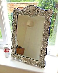 Very Large Antique Sterling Silver Victorian Dressing Table Mirror Hallmarked