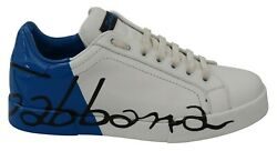 Dolce And Gabbana Shoes Sneakers White Blue Leather Logo Print Mens Eu40 / Us7