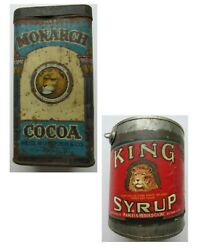 Vintage Merch. Lot-- 2 Tins Monarch Cocoa And Large King Syrup Both W/ Lions