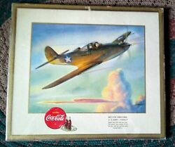 1942 Wwii Coca-cola America's Fighting Planes Sign.. Bell P-39 Aracobra