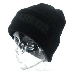 Dee Squared Dsquared2 Logo Beanie Knit Cap Hat Embroidery Black Aa Mens