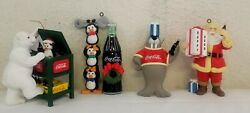 Lot Of 4 Collectible Cocacola Coke Trim-a-tree Christmas Tree Ornaments In Box