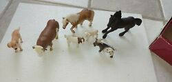 Lot Of 7 Vintage Schleich Animals - 2 Horses 1 Bull 1 Dog 1 Sheep And 2 Goat