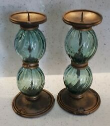 Pair Antique Blown Twisted Glass Candlesticks With Metal Bands 10¼ Inches Tall