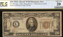 1934a 20 Dollar Bill Wwii Hawaii Brown Seal Note Old Paper Money Pcgs 20