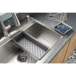 Lyric Dual Mount Workstation Stainless Steel 33 In 4-hole Single Bowl Kitchen Si