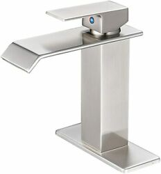 Brushed Nickel Bathroom Basin Sink Faucet Single Hole Deck Mount With 6 In Cover